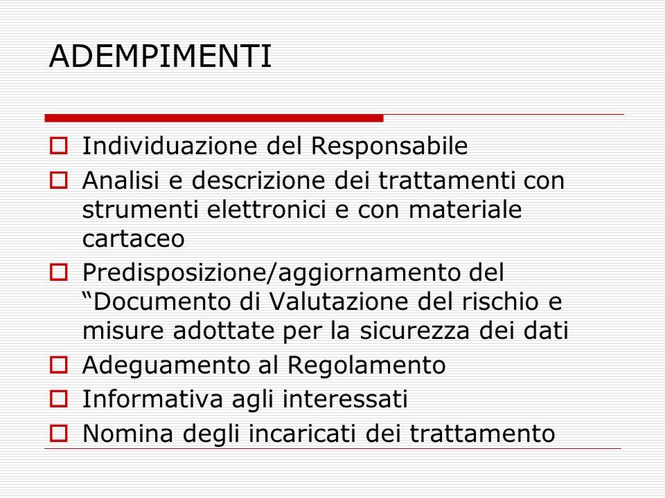 ADEMPIMENTI Individuazione del Responsabile Analisi e descrizione dei trattamenti con strumenti elettronici e con materiale cartaceo Predisposizione/a