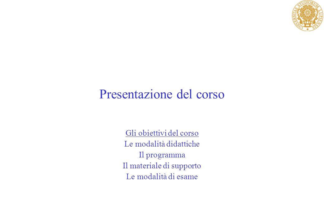 Presentazione del corso Gli obiettivi del corso Le modalità didattiche Il programma Il materiale di supporto Le modalità di esame