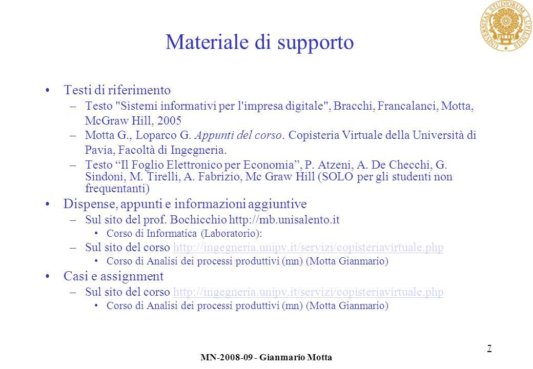 7 MN-2008-09 - Gianmario Motta Materiale di supporto Testi di riferimento –Testo Sistemi informativi per l impresa digitale , Bracchi, Francalanci, Motta, McGraw Hill, 2005 –Motta G., Loparco G.