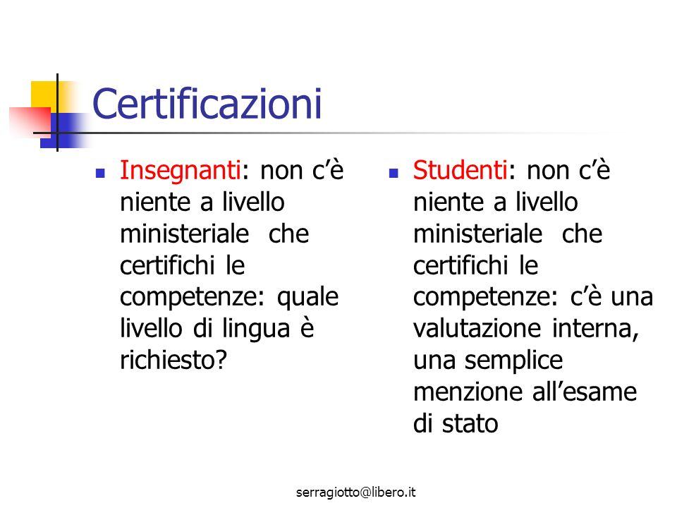 serragiotto@libero.it Certificazioni Insegnanti: non cè niente a livello ministeriale che certifichi le competenze: quale livello di lingua è richiesto.