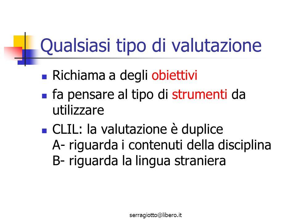 serragiotto@libero.it Valutazione nel CLIL Separata tra contenuti e lingua.