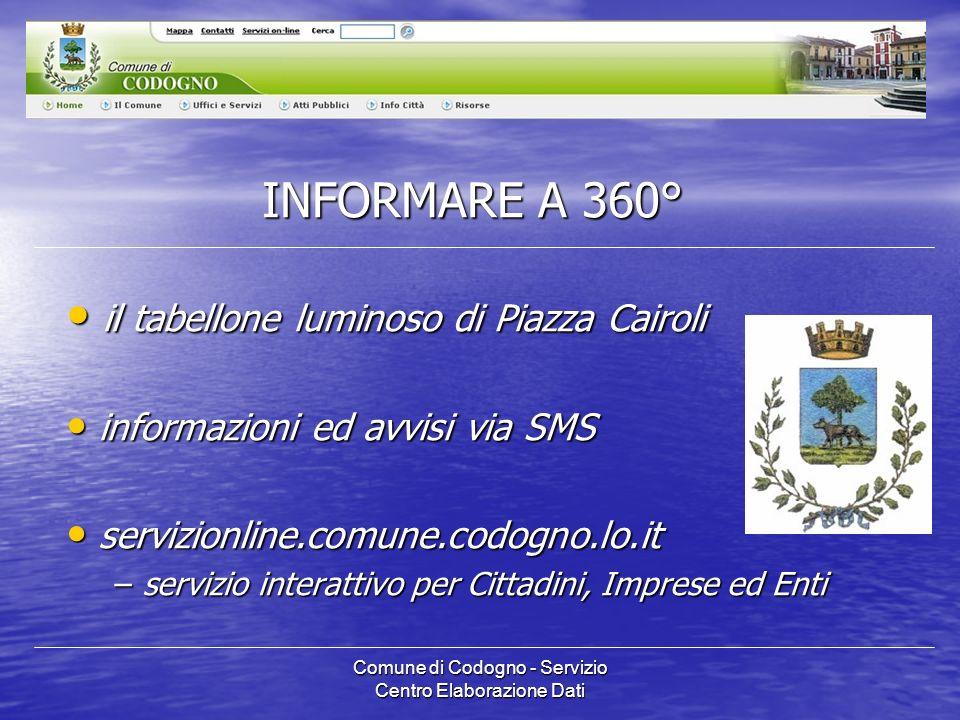 Comune di Codogno - Servizio Centro Elaborazione Dati ALTRI NUMERI...