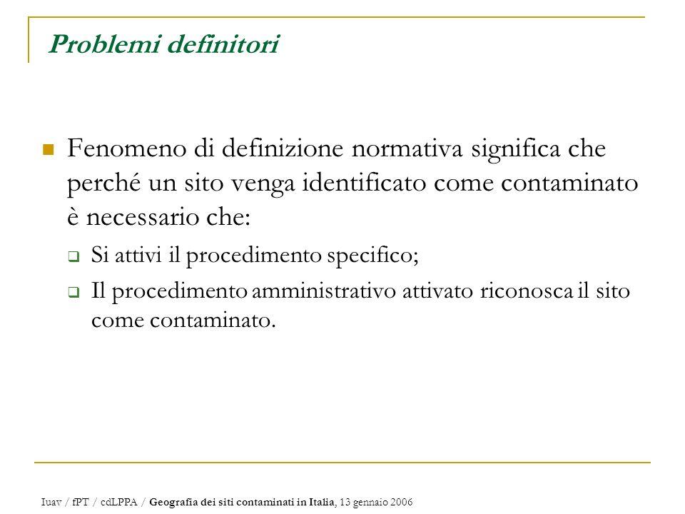 Iuav / fPT / cdLPPA / Geografia dei siti contaminati in Italia, 13 gennaio 2006 Problemi definitori Fenomeno di definizione normativa significa che perché un sito venga identificato come contaminato è necessario che: Si attivi il procedimento specifico; Il procedimento amministrativo attivato riconosca il sito come contaminato.