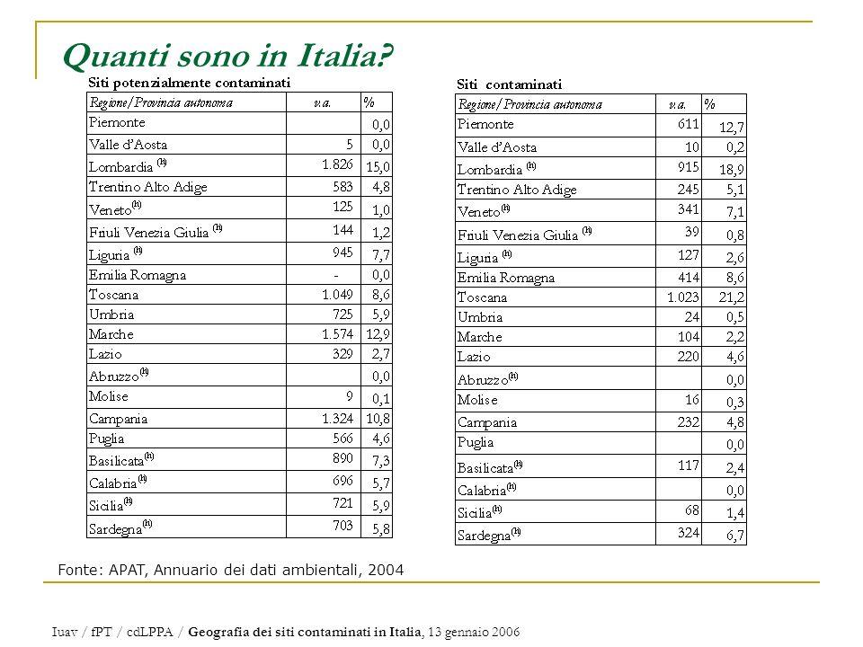 Iuav / fPT / cdLPPA / Geografia dei siti contaminati in Italia, 13 gennaio 2006 Quanti sono in Italia.
