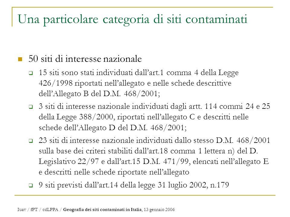 Una particolare categoria di siti contaminati 50 siti di interesse nazionale 15 siti sono stati individuati dallart.1 comma 4 della Legge 426/1998 riportati nellallegato e nelle schede descrittive dellAllegato B del D.M.