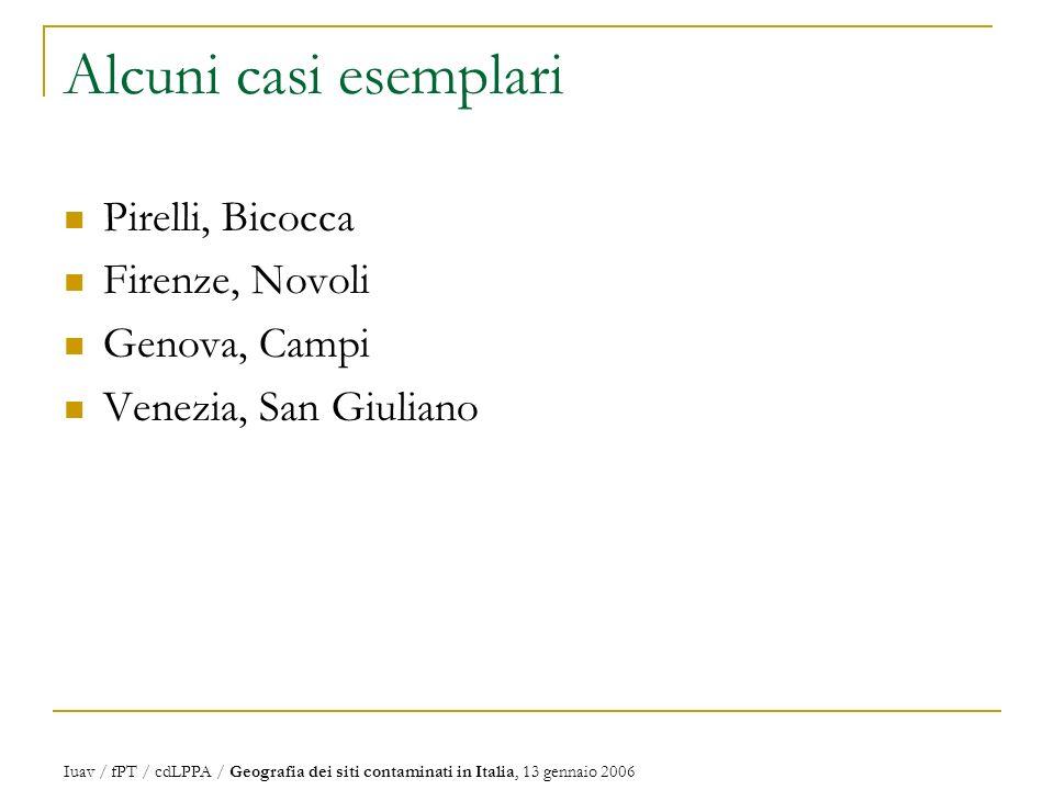 Alcuni casi esemplari Pirelli, Bicocca Firenze, Novoli Genova, Campi Venezia, San Giuliano Iuav / fPT / cdLPPA / Geografia dei siti contaminati in Italia, 13 gennaio 2006
