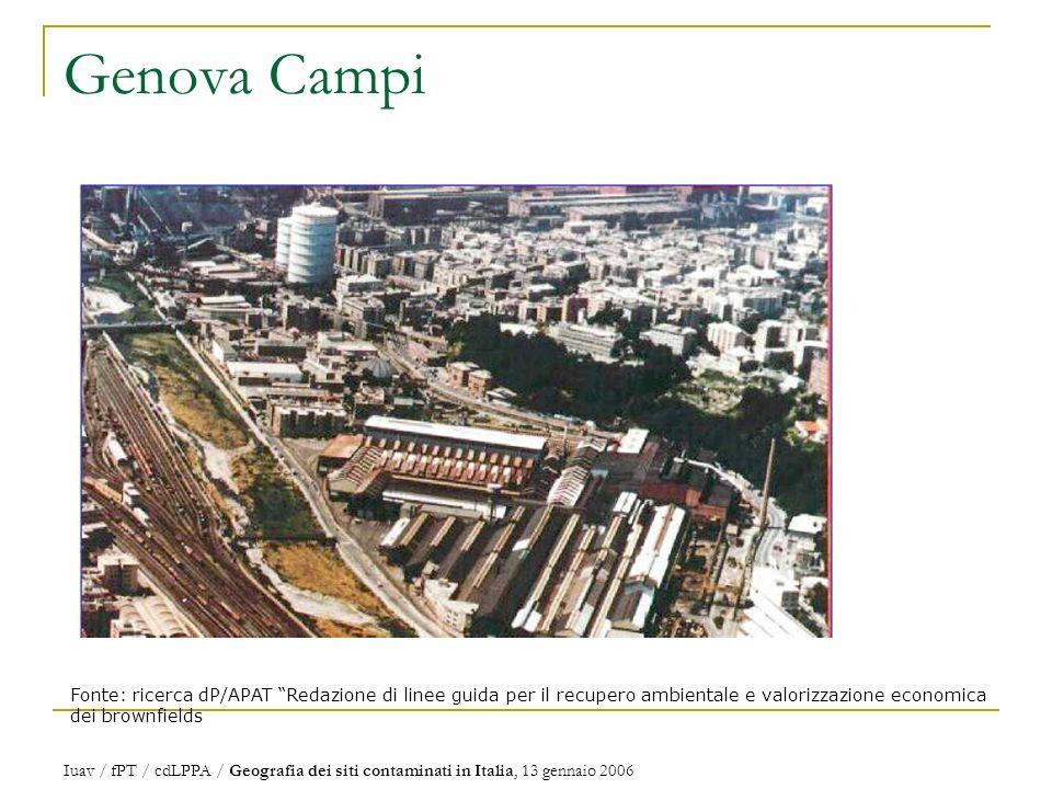 Genova Campi Fonte: ricerca dP/APAT Redazione di linee guida per il recupero ambientale e valorizzazione economica dei brownfields Iuav / fPT / cdLPPA / Geografia dei siti contaminati in Italia, 13 gennaio 2006