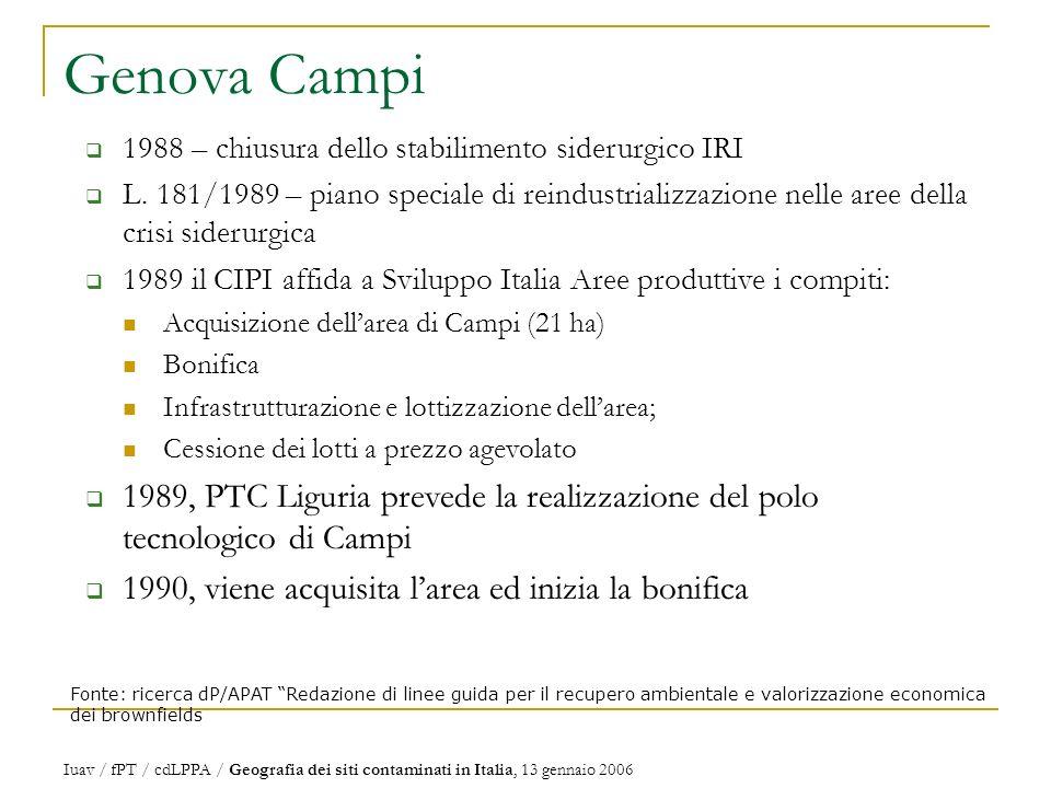 Genova Campi Fonte: ricerca dP/APAT Redazione di linee guida per il recupero ambientale e valorizzazione economica dei brownfields 1988 – chiusura dello stabilimento siderurgico IRI L.
