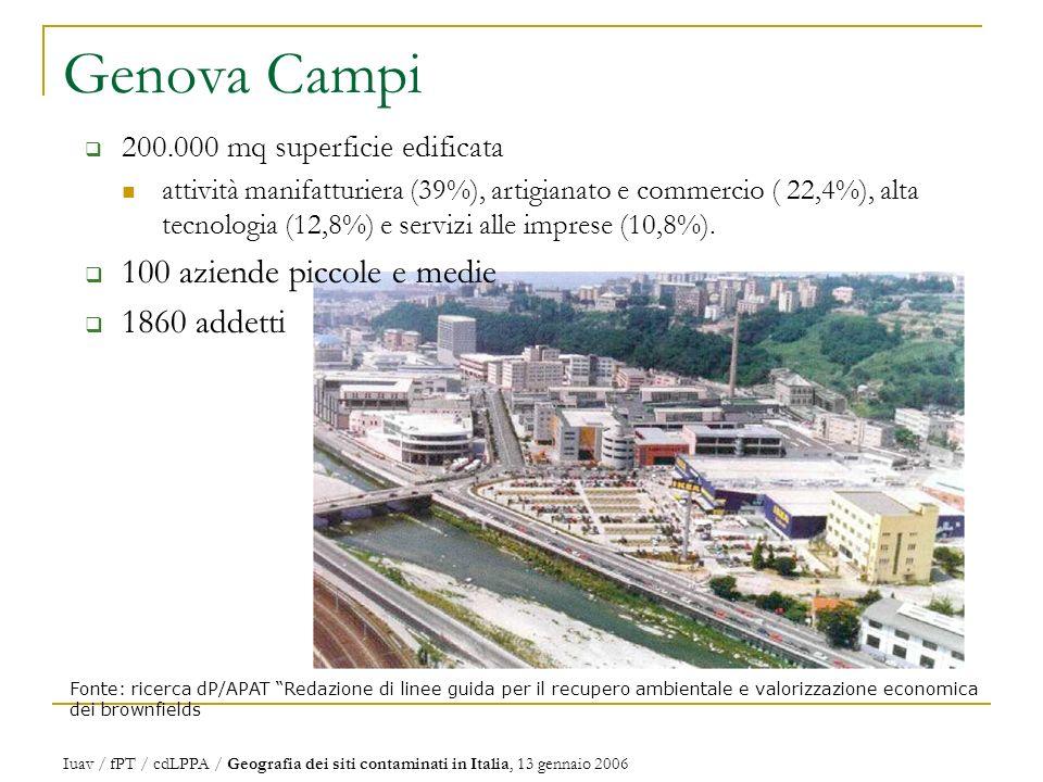 Genova Campi Fonte: ricerca dP/APAT Redazione di linee guida per il recupero ambientale e valorizzazione economica dei brownfields 200.000 mq superficie edificata attività manifatturiera (39%), artigianato e commercio ( 22,4%), alta tecnologia (12,8%) e servizi alle imprese (10,8%).