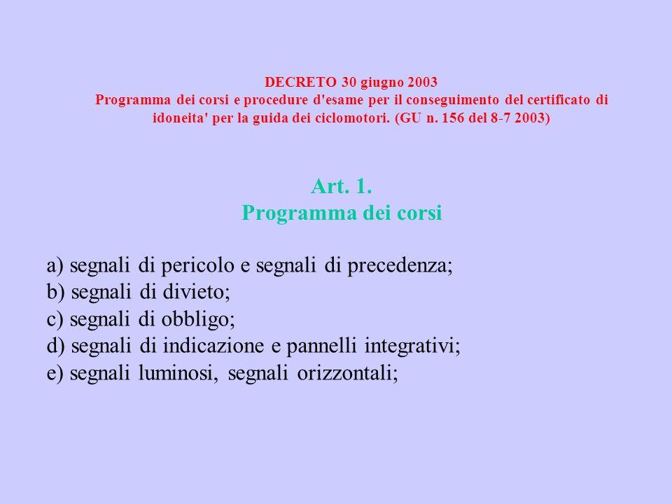 DECRETO 30 giugno 2003 Programma dei corsi e procedure d'esame per il conseguimento del certificato di idoneita' per la guida dei ciclomotori. (GU n.
