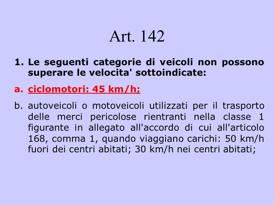 Art. 142 1.Le seguenti categorie di veicoli non possono superare le velocita' sottoindicate: a.ciclomotori: 45 km/h; b.autoveicoli o motoveicoli utili