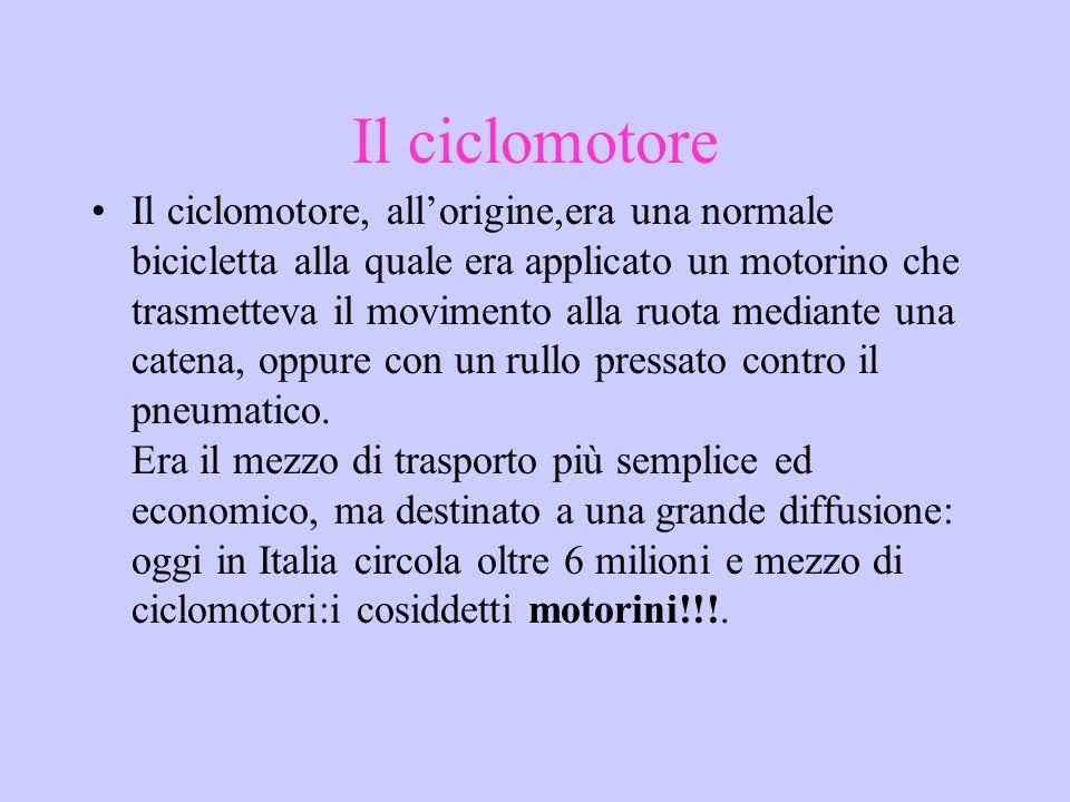 Il ciclomotore Il ciclomotore, allorigine,era una normale bicicletta alla quale era applicato un motorino che trasmetteva il movimento alla ruota medi