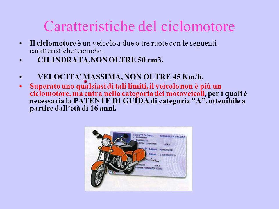Caratteristiche del ciclomotore Il ciclomotore è un veicolo a due o tre ruote con le seguenti caratteristiche tecniche: CILINDRATA,NON OLTRE 50 cm3. V