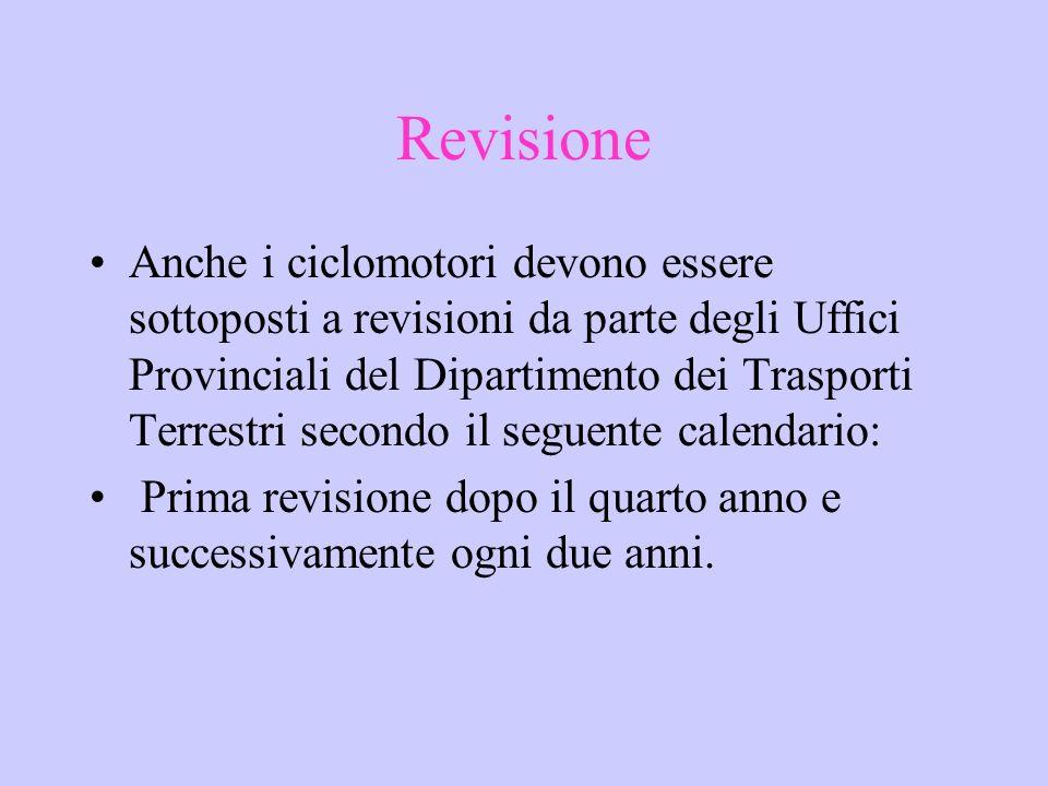 Revisione Anche i ciclomotori devono essere sottoposti a revisioni da parte degli Uffici Provinciali del Dipartimento dei Trasporti Terrestri secondo