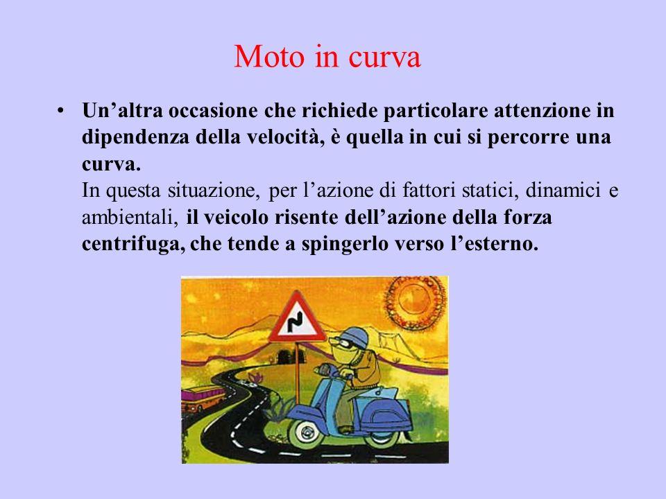 Moto in curva Unaltra occasione che richiede particolare attenzione in dipendenza della velocità, è quella in cui si percorre una curva. In questa sit