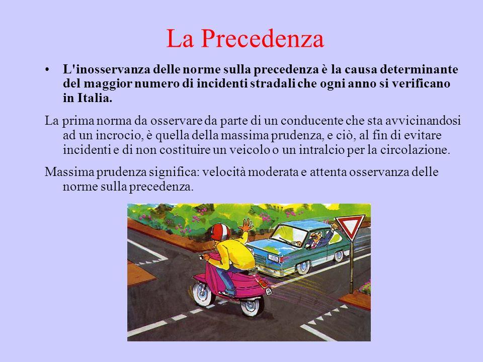 La Precedenza L'inosservanza delle norme sulla precedenza è la causa determinante del maggior numero di incidenti stradali che ogni anno si verificano