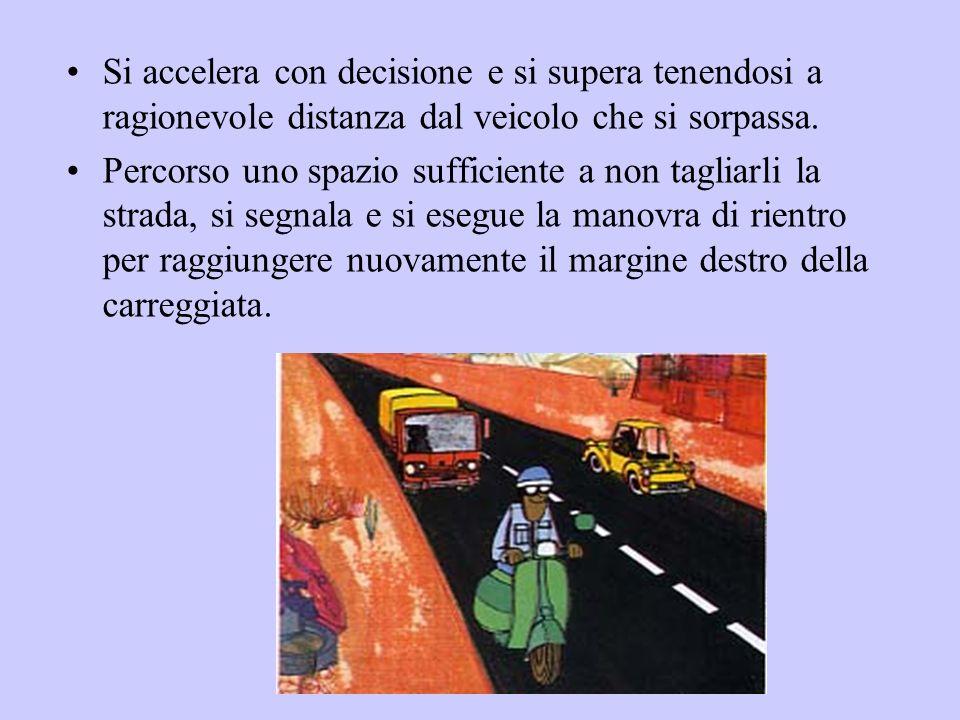 Si accelera con decisione e si supera tenendosi a ragionevole distanza dal veicolo che si sorpassa. Percorso uno spazio sufficiente a non tagliarli la