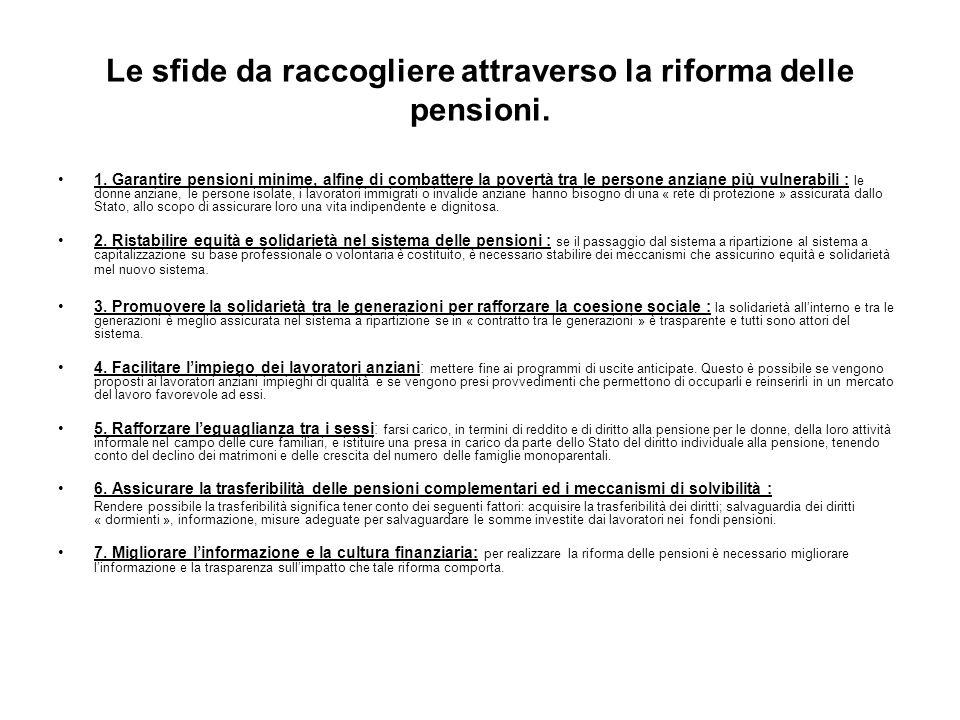 Le sfide da raccogliere attraverso la riforma delle pensioni. 1. Garantire pensioni minime, alfine di combattere la povertà tra le persone anziane più