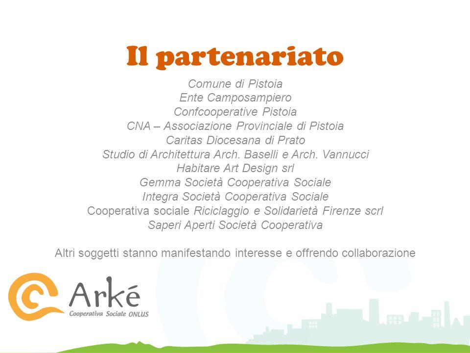 Il partenariato Comune di Pistoia Ente Camposampiero Confcooperative Pistoia CNA – Associazione Provinciale di Pistoia Caritas Diocesana di Prato Studio di Architettura Arch.