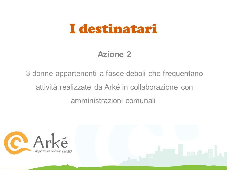 I destinatari Azione 2 3 donne appartenenti a fasce deboli che frequentano attività realizzate da Arké in collaborazione con amministrazioni comunali
