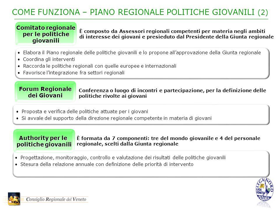 COME FUNZIONA – PIANO REGIONALE POLITICHE GIOVANILI (2) Progettazione, monitoraggio, controllo e valutazione dei risultati delle politiche giovanili S