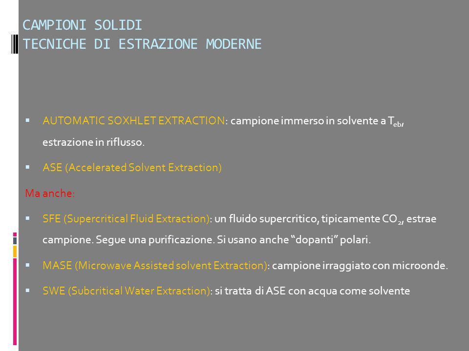CAMPIONI SOLIDI TECNICHE DI ESTRAZIONE MODERNE AUTOMATIC SOXHLET EXTRACTION: campione immerso in solvente a T eb, estrazione in riflusso. ASE (Acceler