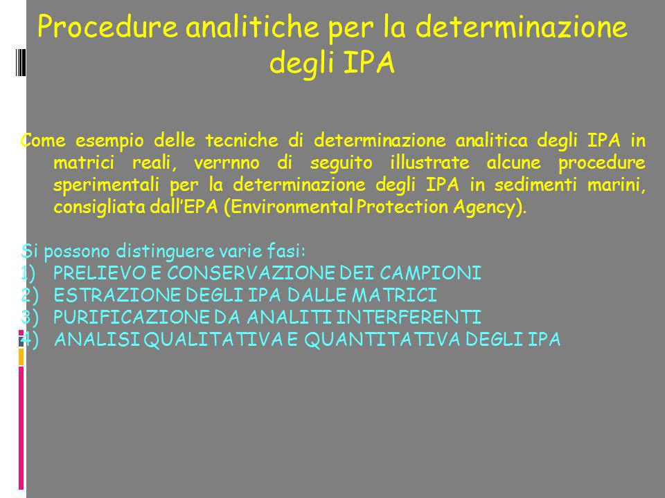 Procedure analitiche per la determinazione degli IPA Come esempio delle tecniche di determinazione analitica degli IPA in matrici reali, verrnno di se
