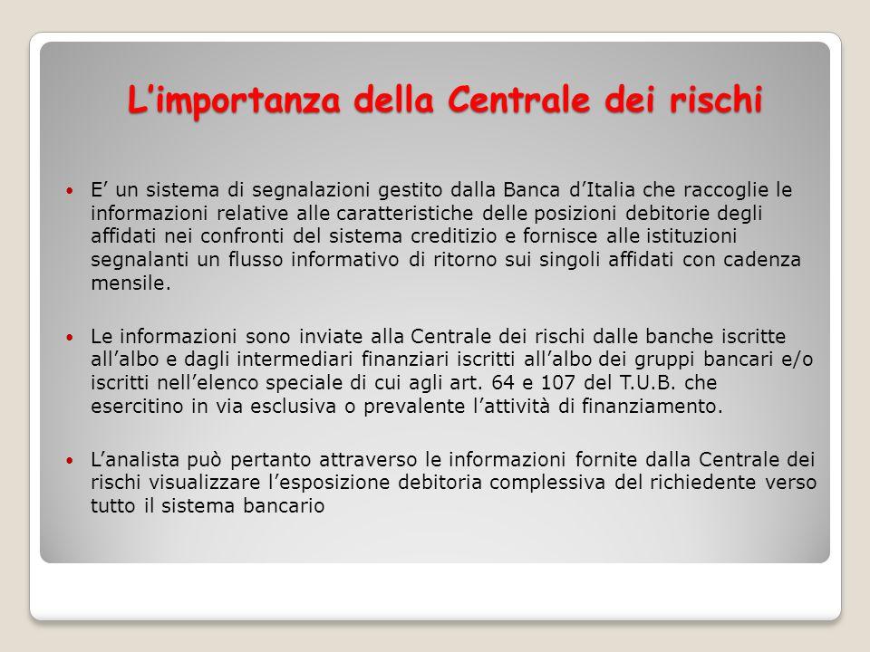 Limportanza della Centrale dei rischi E un sistema di segnalazioni gestito dalla Banca dItalia che raccoglie le informazioni relative alle caratterist
