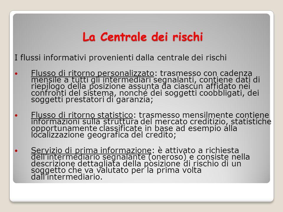 La Centrale dei rischi I flussi informativi provenienti dalla centrale dei rischi Flusso di ritorno personalizzato: trasmesso con cadenza mensile a tu