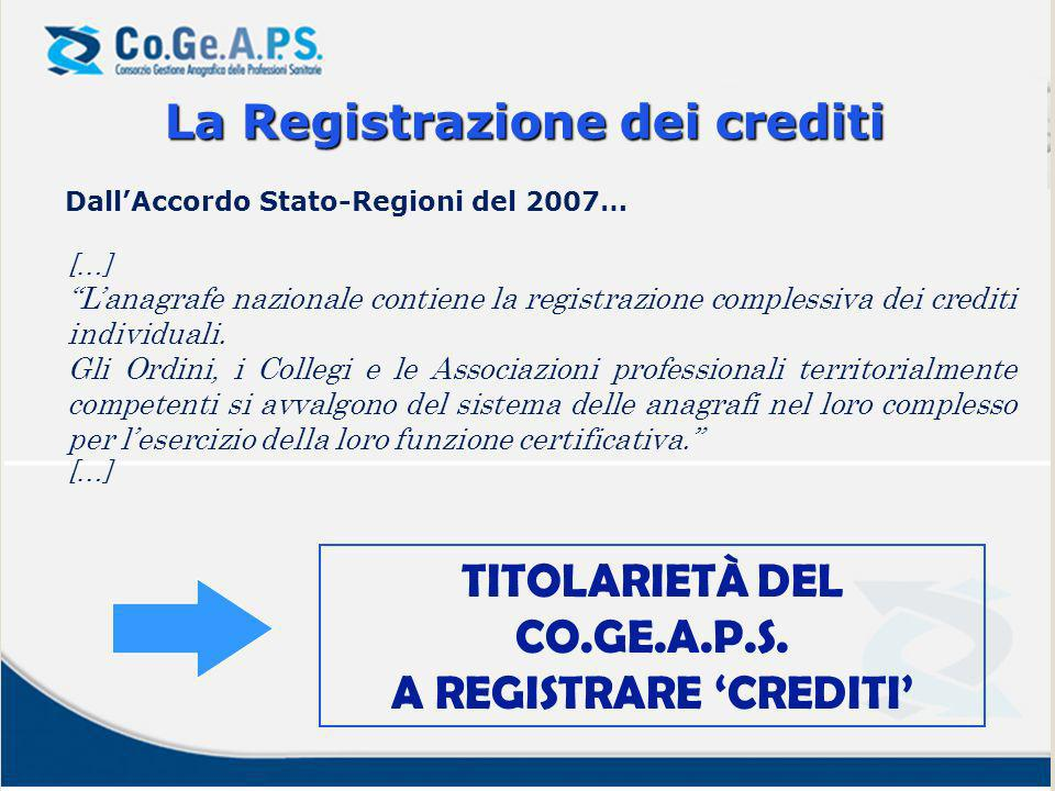 La Registrazione dei crediti […] Lanagrafe nazionale contiene la registrazione complessiva dei crediti individuali.
