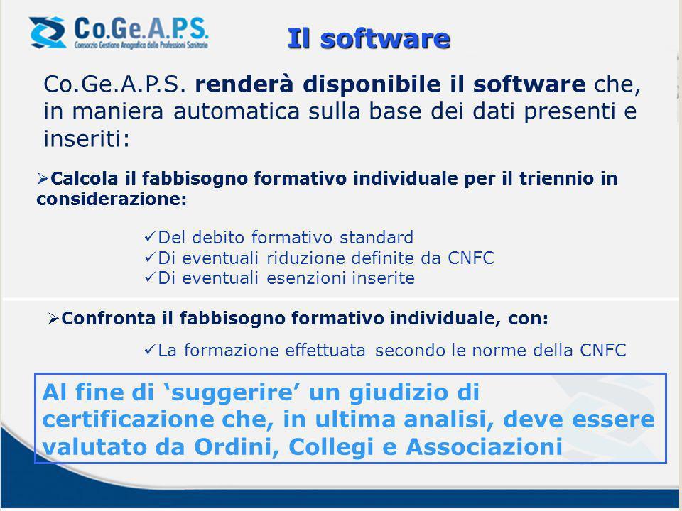 Co.Ge.A.P.S. renderà disponibile il software che, in maniera automatica sulla base dei dati presenti e inseriti: Il software Calcola il fabbisogno for