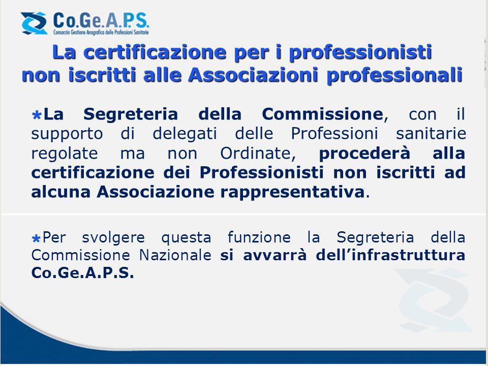 La Segreteria della Commissione, con il supporto di delegati delle Professioni sanitarie regolate ma non Ordinate, procederà alla certificazione dei Professionisti non iscritti ad alcuna Associazione rappresentativa.