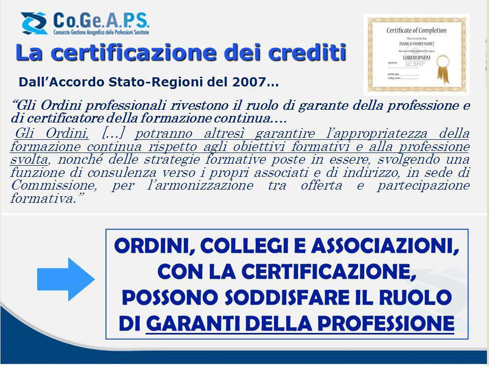 La certificazionedei crediti La certificazione dei crediti Gli Ordini professionali rivestono il ruolo di garante della professione e di certificatore della formazione continua….