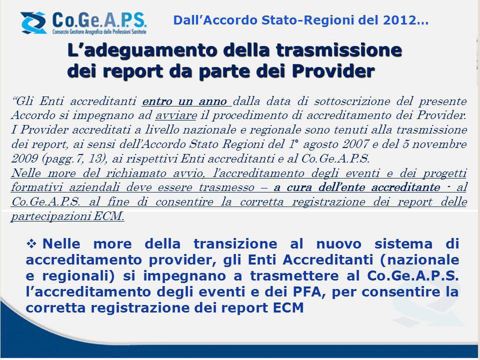 Gli Enti accreditanti entro un anno dalla data di sottoscrizione del presente Accordo si impegnano ad avviare il procedimento di accreditamento dei Provider.