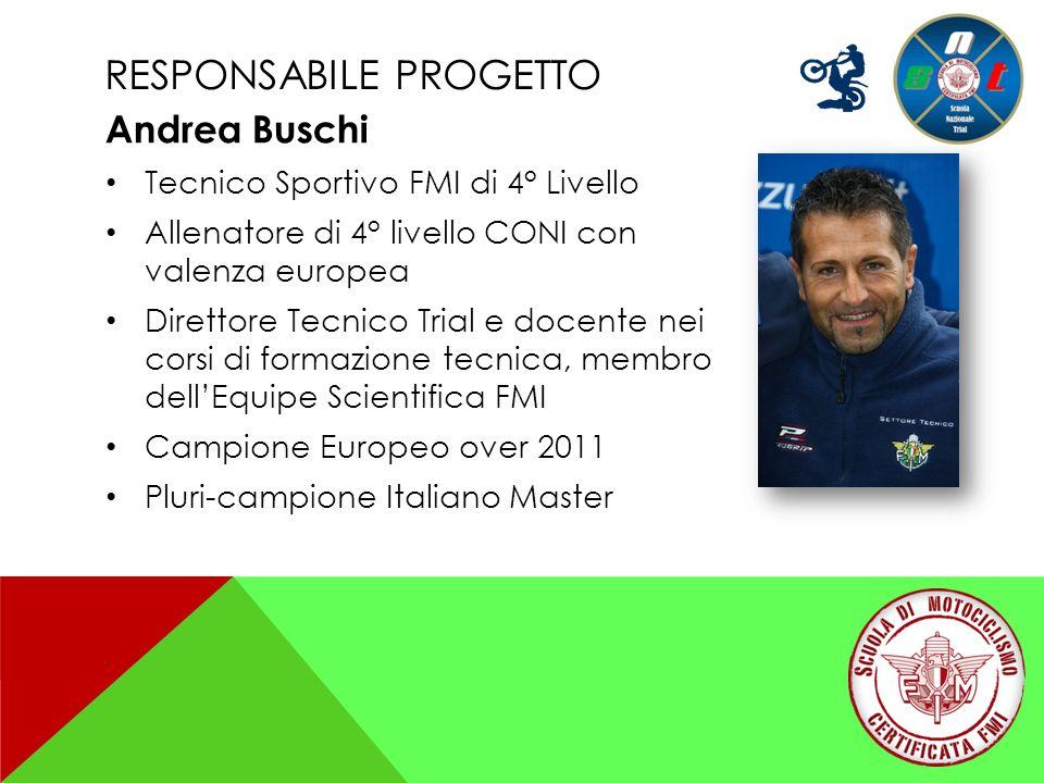 RESPONSABILE PROGETTO Andrea Buschi Tecnico Sportivo FMI di 4° Livello Allenatore di 4° livello CONI con valenza europea Direttore Tecnico Trial e doc