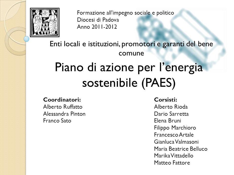 Formazione allimpegno sociale e politico Diocesi di Padova Anno 2011-2012 Piano di azione per lenergia sostenibile (PAES) Coordinatori: Alberto Ruffat