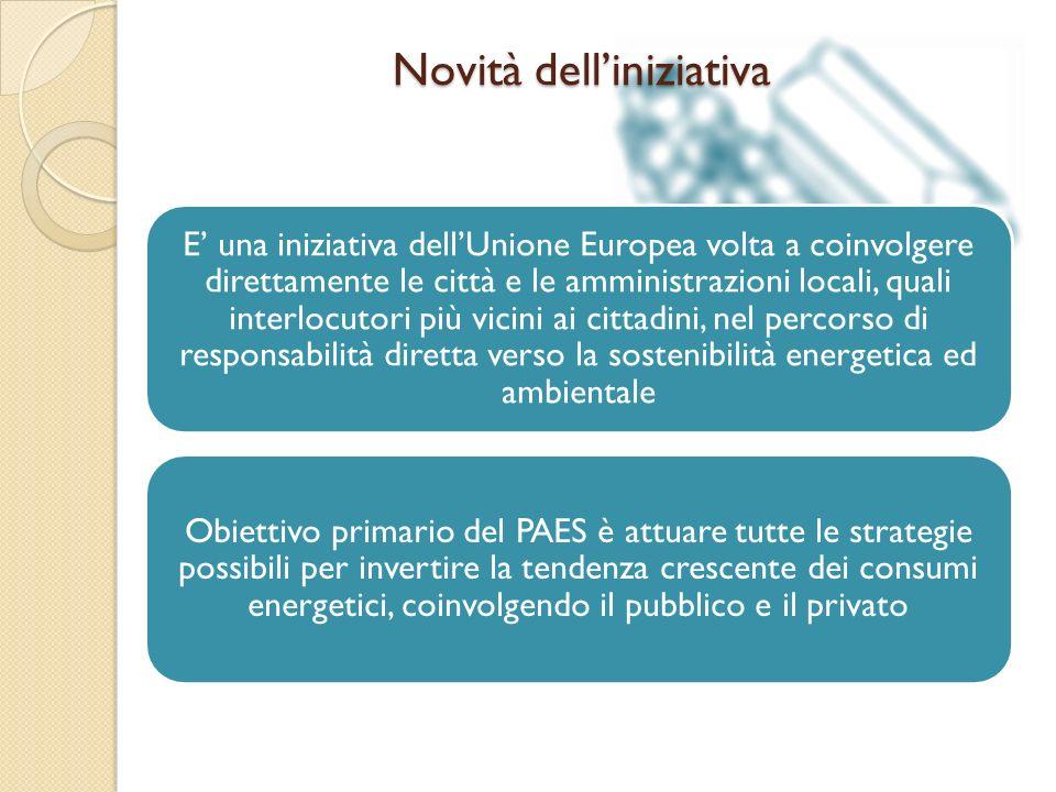 Novità delliniziativa E una iniziativa dellUnione Europea volta a coinvolgere direttamente le città e le amministrazioni locali, quali interlocutori p