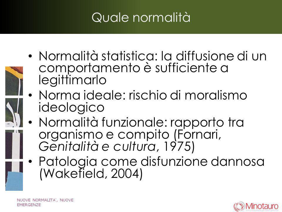 NUOVE NORMALITA, NUOVE EMERGENZE Quale normalità Normalità statistica: la diffusione di un comportamento è sufficiente a legittimarlo Norma ideale: ri