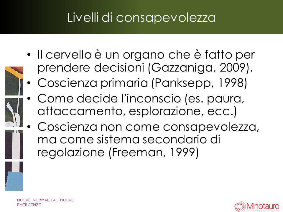 NUOVE NORMALITA, NUOVE EMERGENZE Livelli di consapevolezza Il cervello è un organo che è fatto per prendere decisioni (Gazzaniga, 2009). Coscienza pri