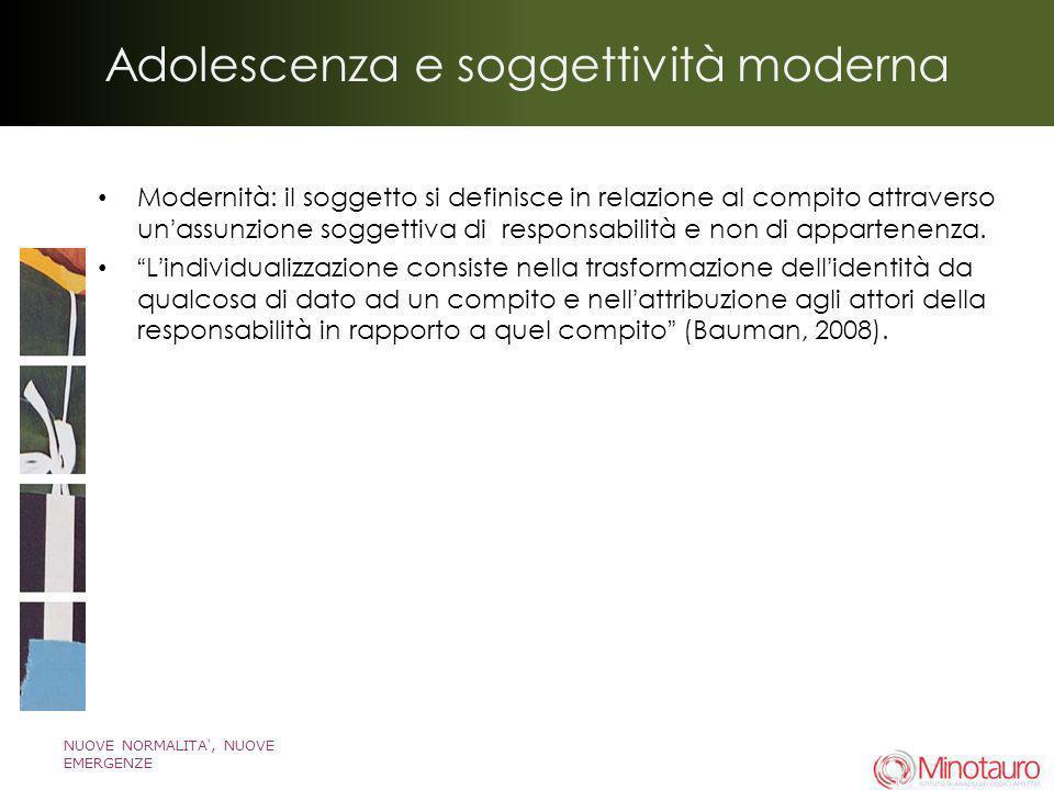 NUOVE NORMALITA, NUOVE EMERGENZE Adolescenza e soggettività moderna Modernità: il soggetto si definisce in relazione al compito attraverso unassunzion