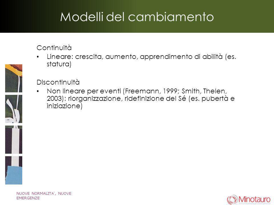 NUOVE NORMALITA, NUOVE EMERGENZE Modelli del cambiamento Continuità Lineare: crescita, aumento, apprendimento di abilità (es. statura) Discontinuità N