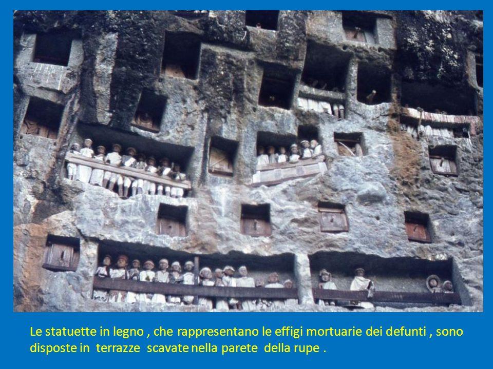 Le statuette in legno, che rappresentano le effigi mortuarie dei defunti, sono disposte in terrazze scavate nella parete della rupe.