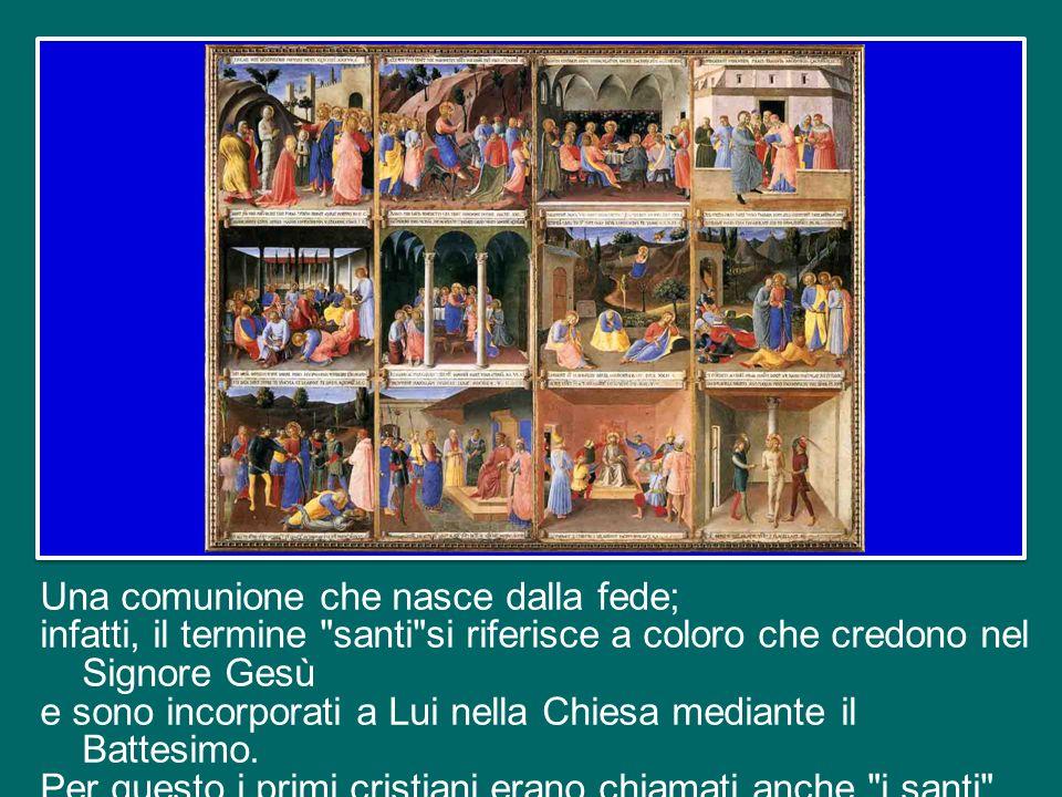 Il Catechismo della Chiesa Cattolica ci ricorda che con questa espressione si intendono due realtà: la comunione alle cose sante e la comunione tra le