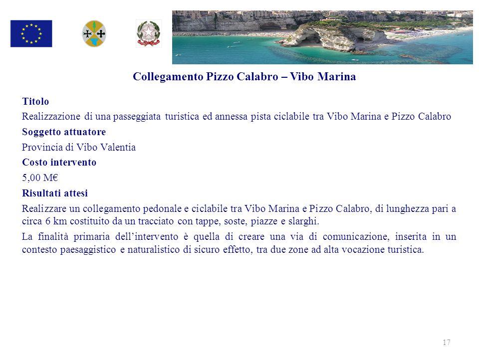 Collegamento Pizzo Calabro – Vibo Marina Titolo Realizzazione di una passeggiata turistica ed annessa pista ciclabile tra Vibo Marina e Pizzo Calabro