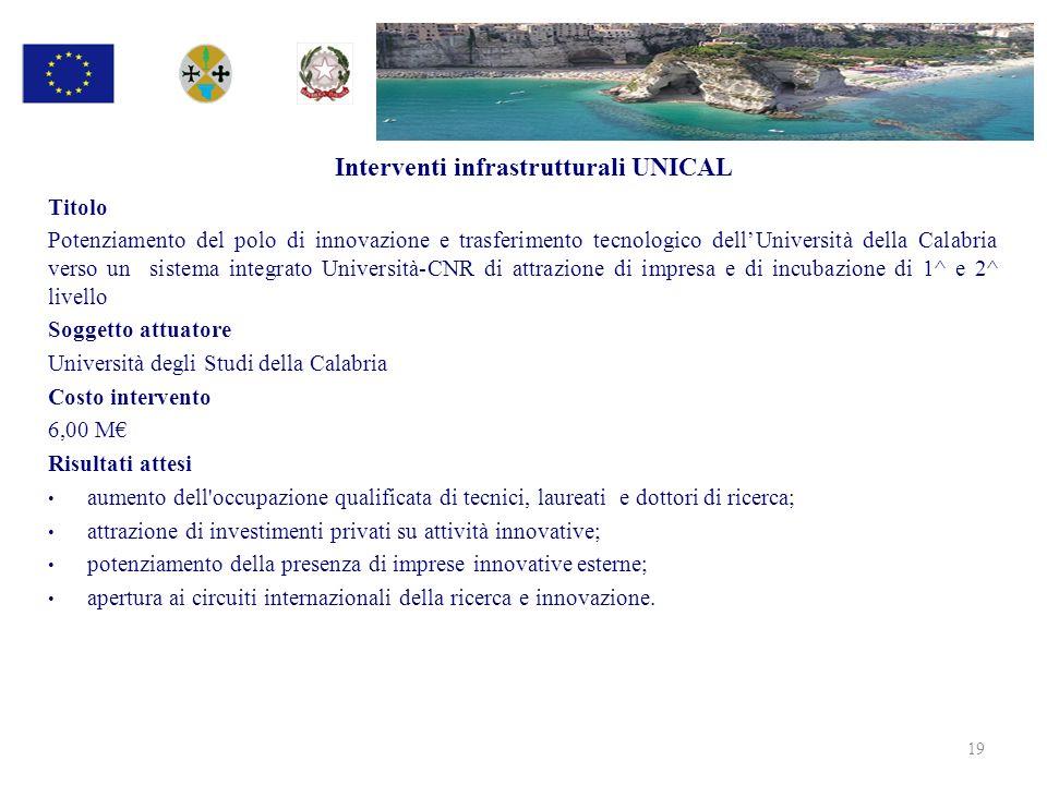 Interventi infrastrutturali UNICAL Titolo Potenziamento del polo di innovazione e trasferimento tecnologico dellUniversità della Calabria verso un sis