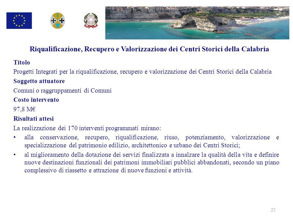 Riqualificazione, Recupero e Valorizzazione dei Centri Storici della Calabria Titolo Progetti Integrati per la riqualificazione, recupero e valorizzaz
