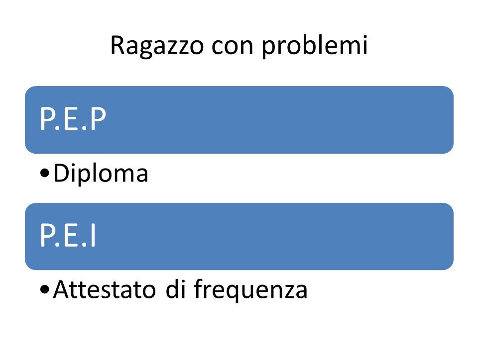 Ragazzo con problemi P.E.P Diploma P.E.I Attestato di frequenza