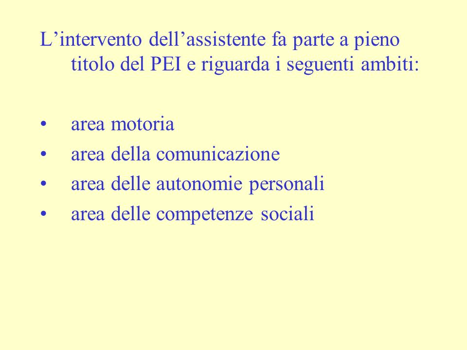 Lintervento dellassistente fa parte a pieno titolo del PEI e riguarda i seguenti ambiti: area motoria area della comunicazione area delle autonomie personali area delle competenze sociali