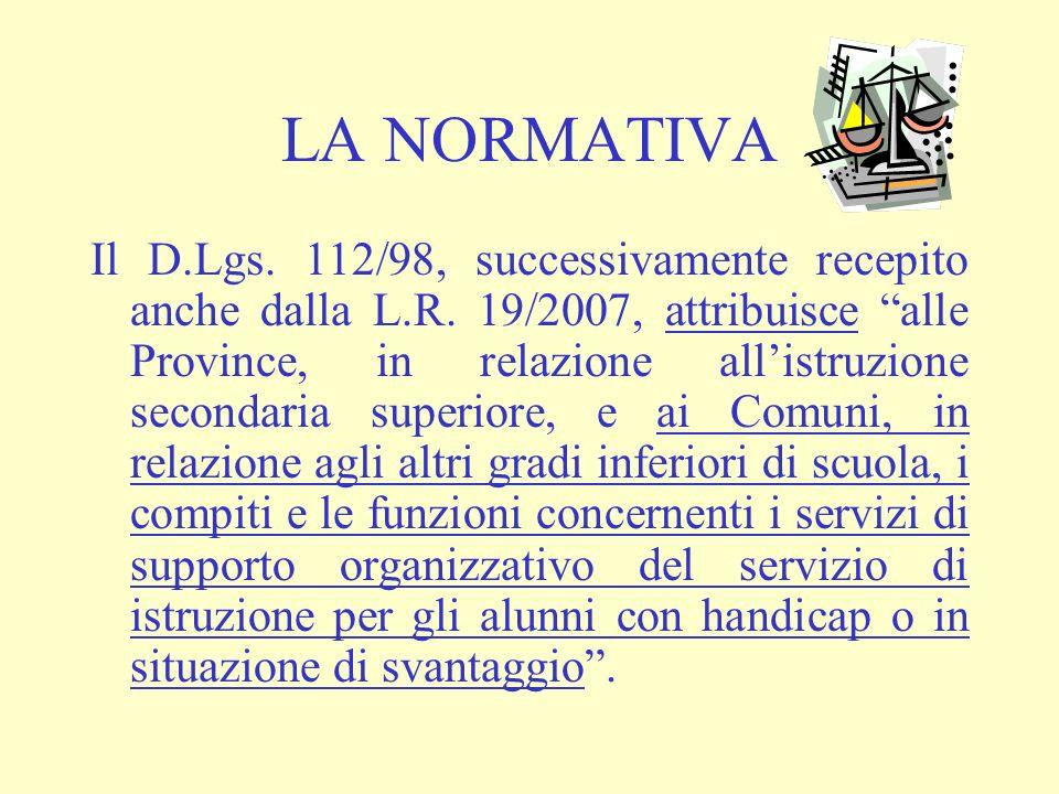 LA NORMATIVA Il D.Lgs. 112/98, successivamente recepito anche dalla L.R. 19/2007, attribuisce alle Province, in relazione allistruzione secondaria sup