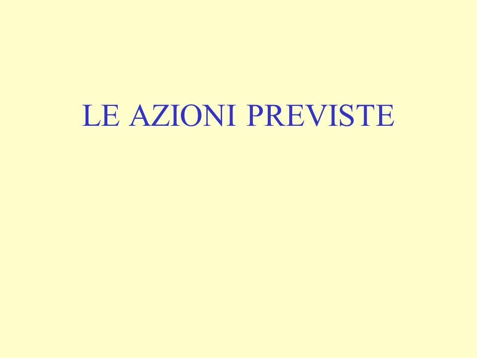LE AZIONI PREVISTE